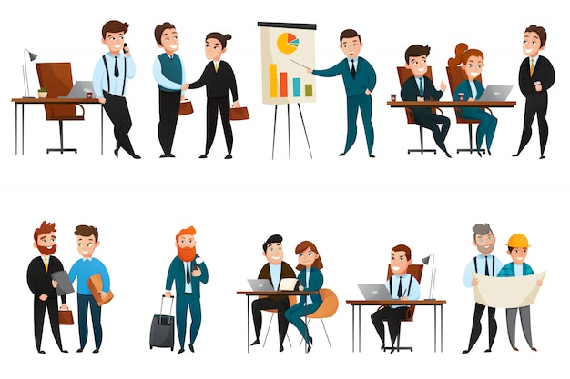 Conjunto de ícones de pessoas de negócios Vetor grátis