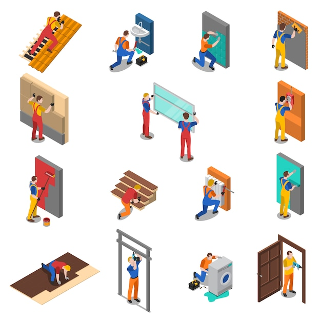 Conjunto de ícones de pessoas de trabalhador de reparo em casa Vetor grátis
