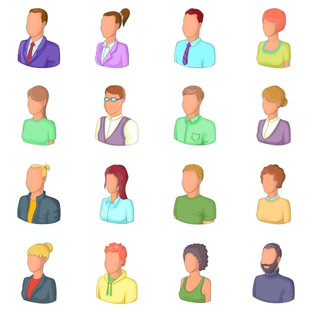 Conjunto de ícones de pessoas diferentes Vetor Premium