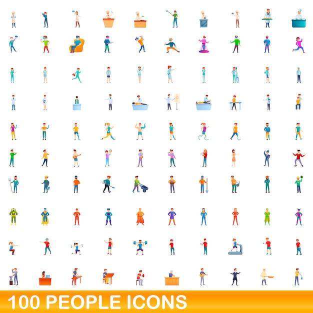 Conjunto de ícones de pessoas, estilo cartoon Vetor Premium