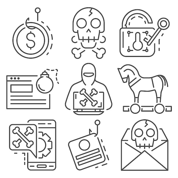 Conjunto de ícones de phishing. conjunto de contorno de ícones do vetor de phishing Vetor Premium