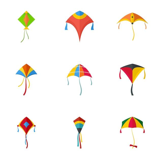 Conjunto de ícones de pipa voando. conjunto plano de 9 ícones de pipa voando Vetor Premium