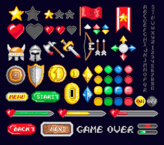 Conjunto de ícones de pixel game art Vetor Premium