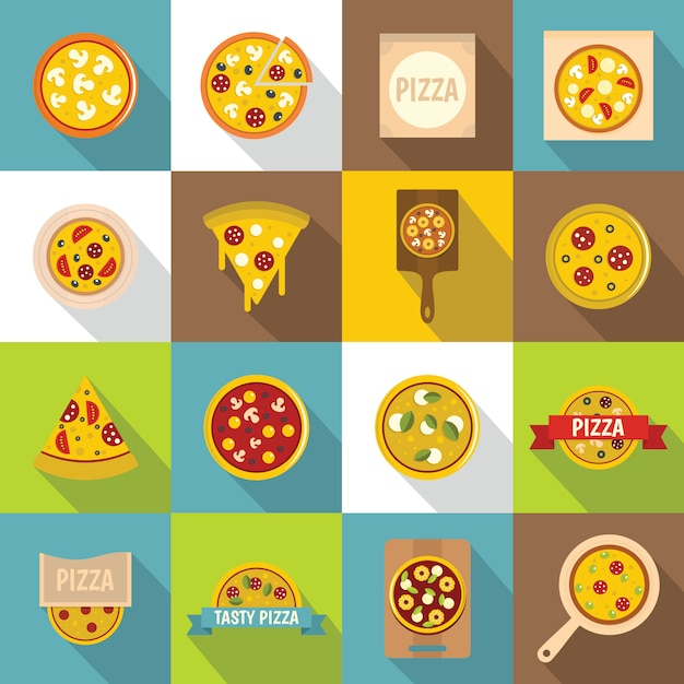 Conjunto de ícones de pizza comida, estilo simples Vetor Premium