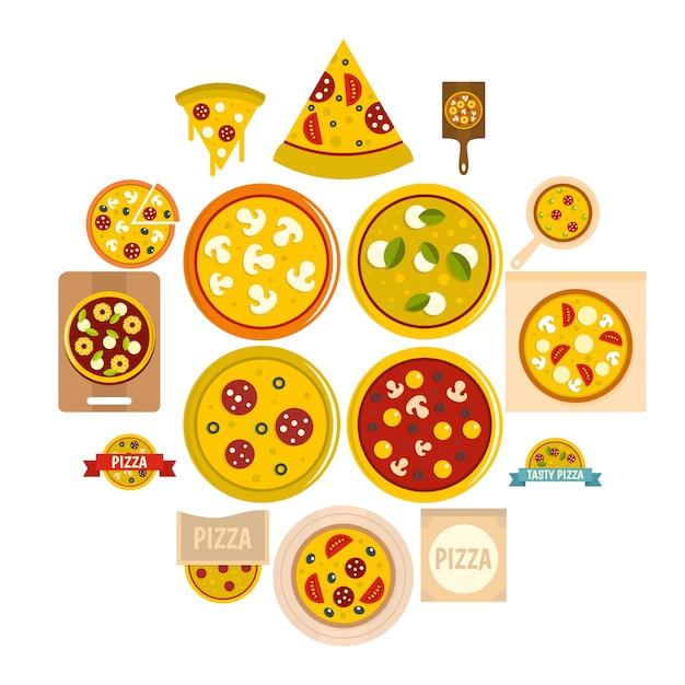 Conjunto de ícones de pizza em estilo simples Vetor Premium