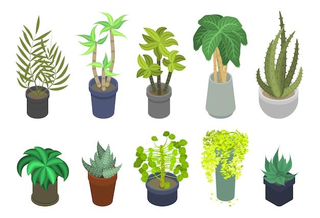 Conjunto de ícones de plantas de casa, estilo isométrico Vetor Premium