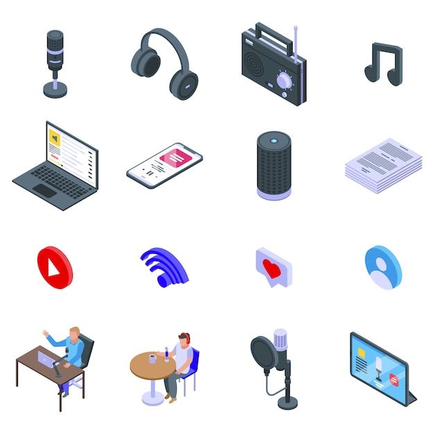 Conjunto de ícones de podcast, estilo isométrico Vetor Premium