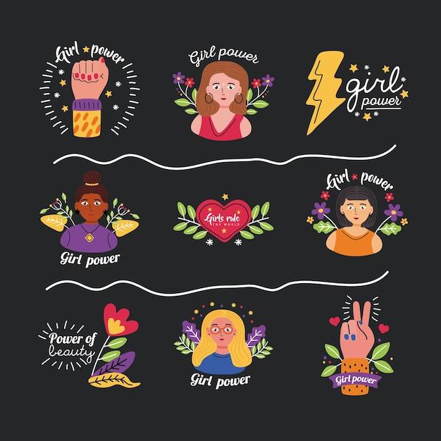 Conjunto de ícones de poder feminino de ilustração do tema de direitos e feminismo feminino com empoderamento da mulher Vetor Premium
