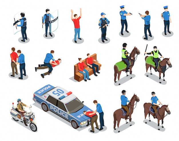 Conjunto de ícones de polícia Vetor grátis