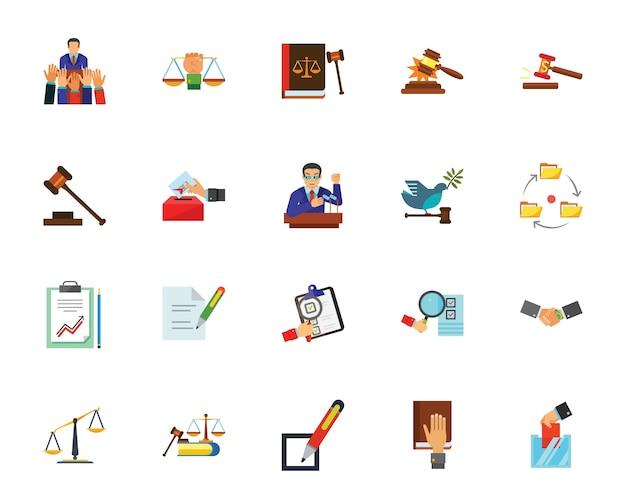 Conjunto de ícones de política e justiça Vetor grátis