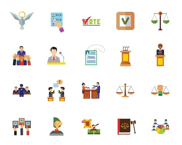 Conjunto de ícones de política Vetor grátis