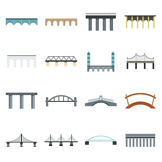 Conjunto de ícones de ponte Vetor Premium