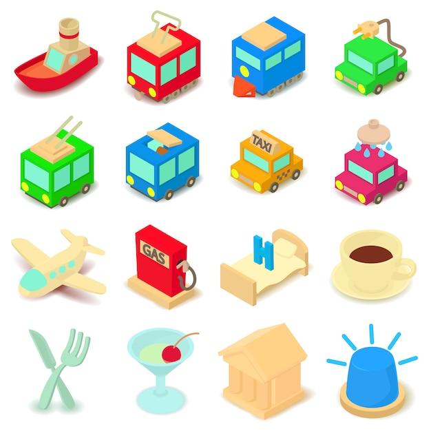Conjunto de ícones de pontos de interesse. ilustração dos desenhos animados de 16 pontos de ícones do vetor de interesse para web Vetor Premium