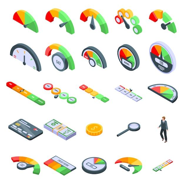 Conjunto de ícones de pontuação de crédito, estilo isométrico Vetor Premium