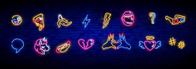 Conjunto de ícones de pop art. sinal de néon de pop art. tabuleta brilhante, faixa de luz. Vetor Premium