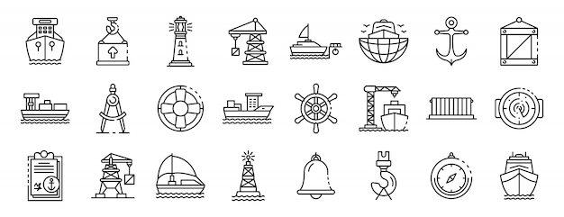 Conjunto de ícones de porta marinho, estilo de estrutura de tópicos Vetor Premium