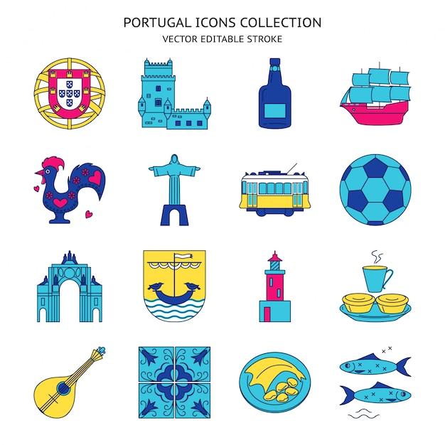 Conjunto de ícones de portugal em estilo de linha Vetor Premium