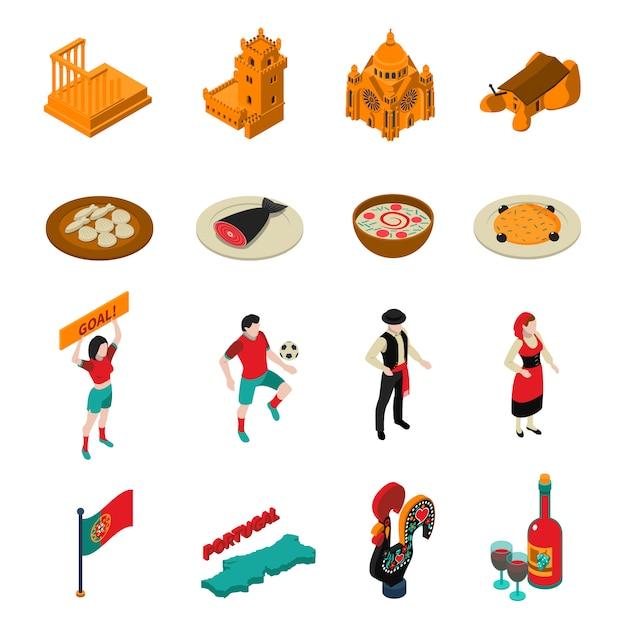 Conjunto de ícones de portugal Vetor grátis