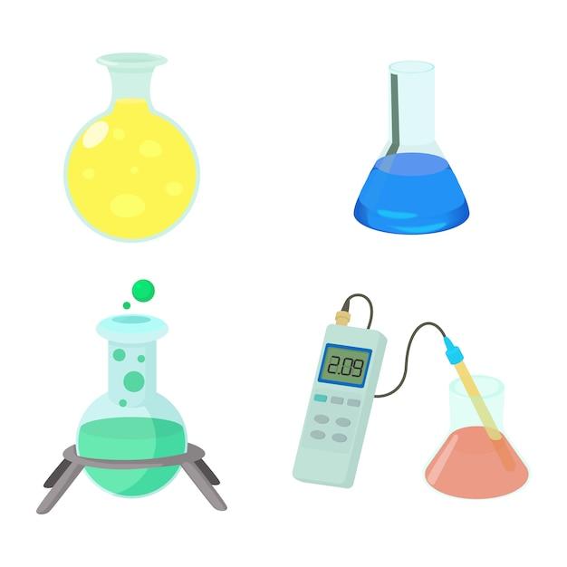 Conjunto de ícones de potes químicos Vetor Premium