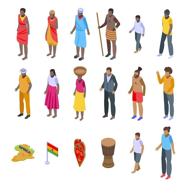 Conjunto de ícones de povos africanos. Vetor Premium