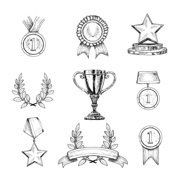 Conjunto de ícones de prêmio Vetor Premium