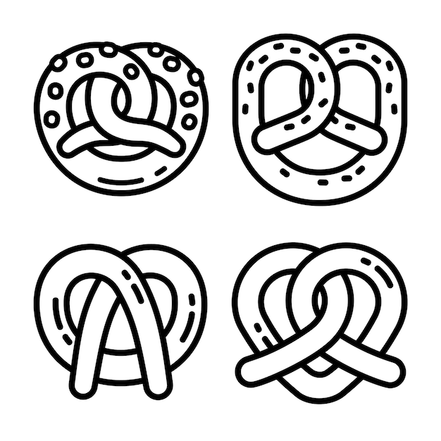 Conjunto de ícones de pretzel bávaro, estilo de estrutura de tópicos Vetor Premium