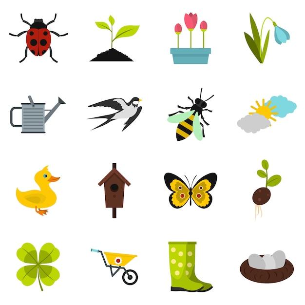 Conjunto de ícones de primavera Vetor Premium