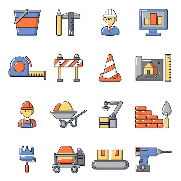 Conjunto de ícones de processo de construção Vetor Premium