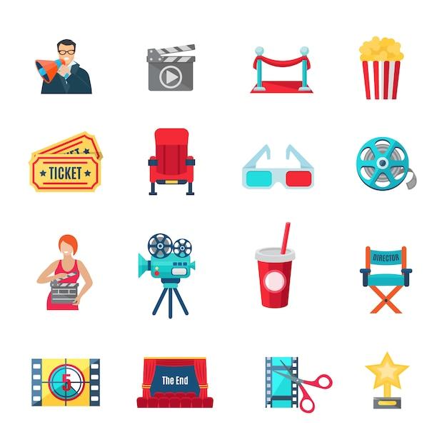 Conjunto de ícones de produção cinematográfica e Vetor grátis