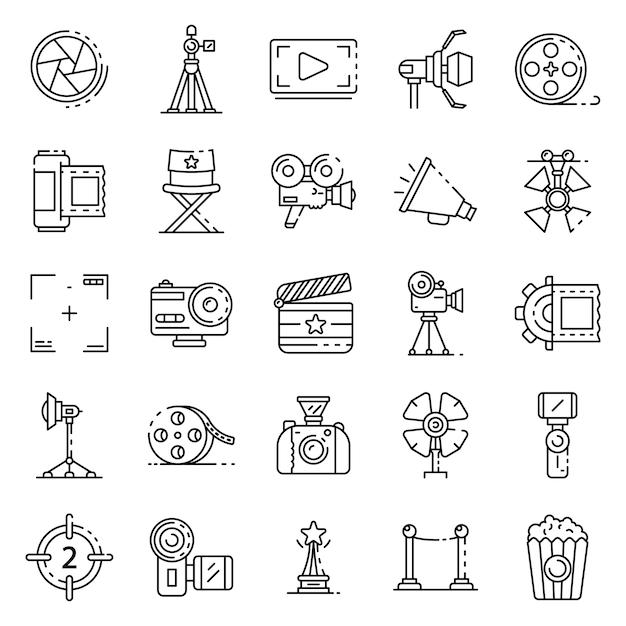 Conjunto de ícones de produção de filme, estilo de estrutura de tópicos Vetor Premium
