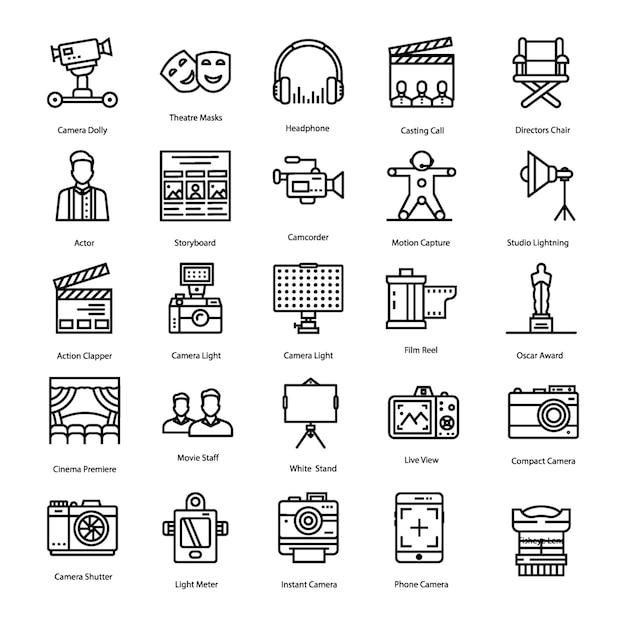 Conjunto de ícones de produção de vídeo Vetor Premium