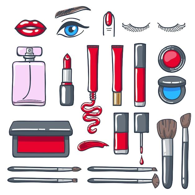 Conjunto de ícones de produtos cosméticos cosméticos. Vetor Premium