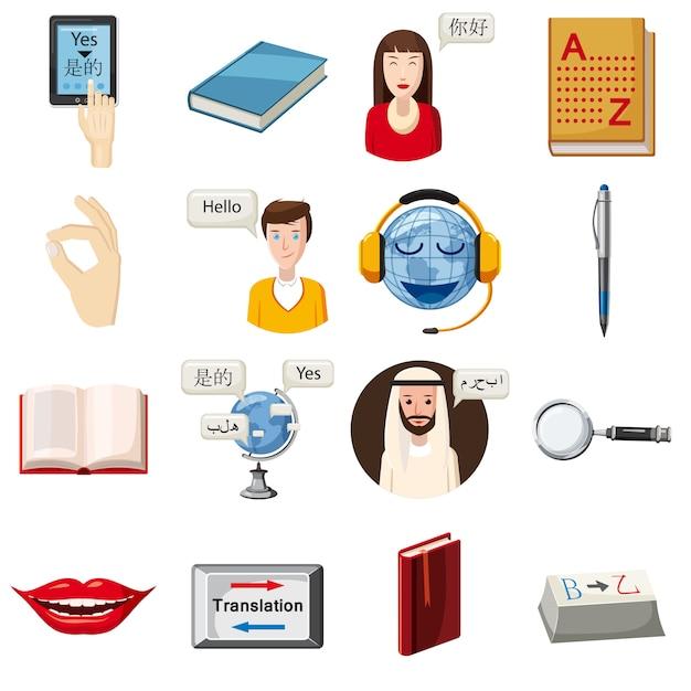 Conjunto de ícones de profissão de tradutor, estilo cartoon Vetor Premium