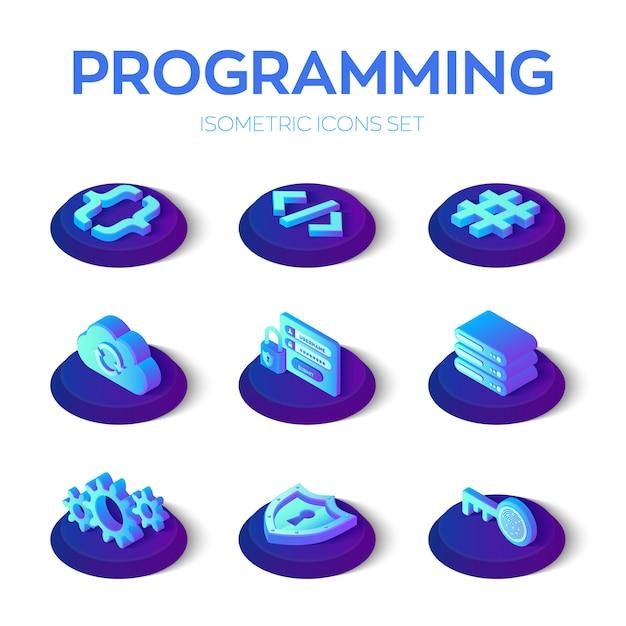 Conjunto de ícones de programação e desenvolvimento Vetor Premium