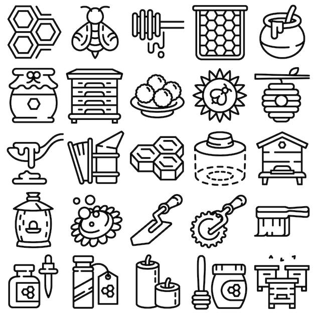 Conjunto de ícones de própolis, estilo de estrutura de tópicos Vetor Premium