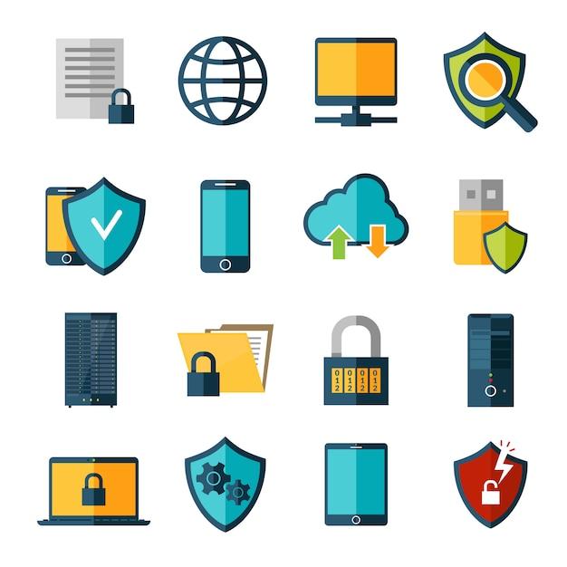 Conjunto de ícones de proteção de dados Vetor grátis
