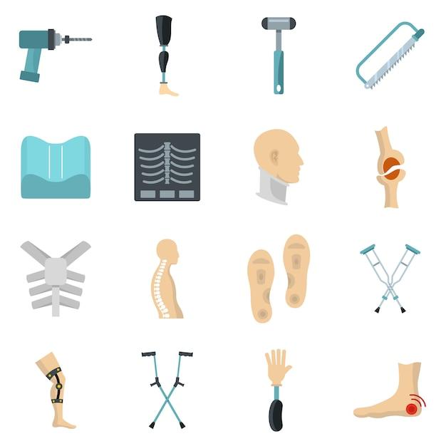 Conjunto de ícones de prótese de ortopedia em estilo simples Vetor Premium
