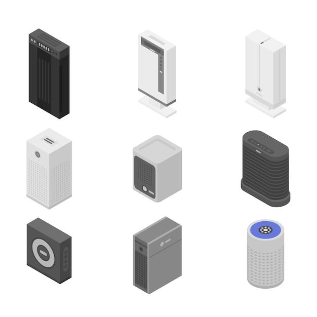 Conjunto de ícones de purificador de ar, estilo isométrico Vetor Premium
