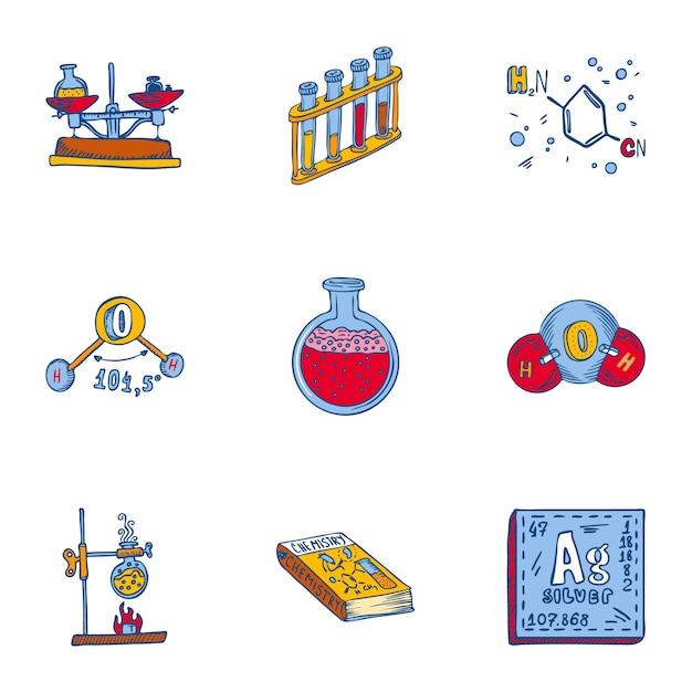 Conjunto de ícones de química escolar. conjunto de mão desenhada de 9 ícones de química de escola Vetor Premium