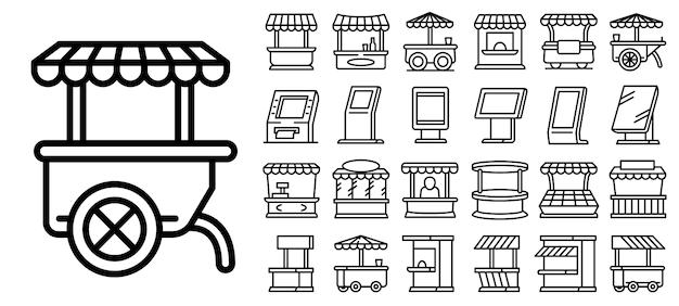 Conjunto de ícones de quiosque, estilo de estrutura de tópicos Vetor Premium