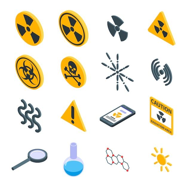Conjunto de ícones de radiação, estilo isométrico Vetor Premium