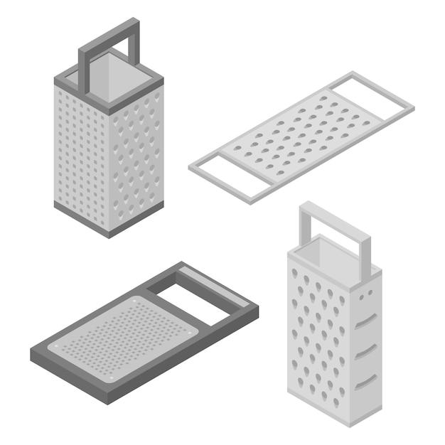 Conjunto de ícones de ralador, estilo isométrico Vetor Premium