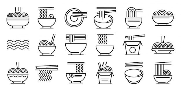 Conjunto de ícones de ramen, estilo de estrutura de tópicos Vetor Premium