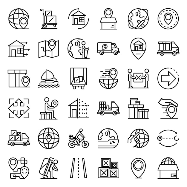 Conjunto de ícones de realocação, estilo de estrutura de tópicos Vetor Premium