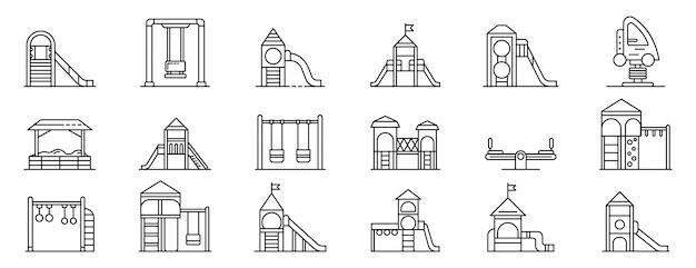 Conjunto de ícones de recreio de criança, estilo de estrutura de tópicos Vetor Premium