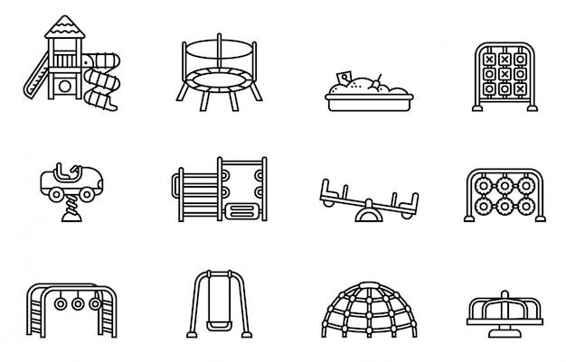 Conjunto de ícones de recreio. vetor de estoque de estilo de linha fina. Vetor Premium