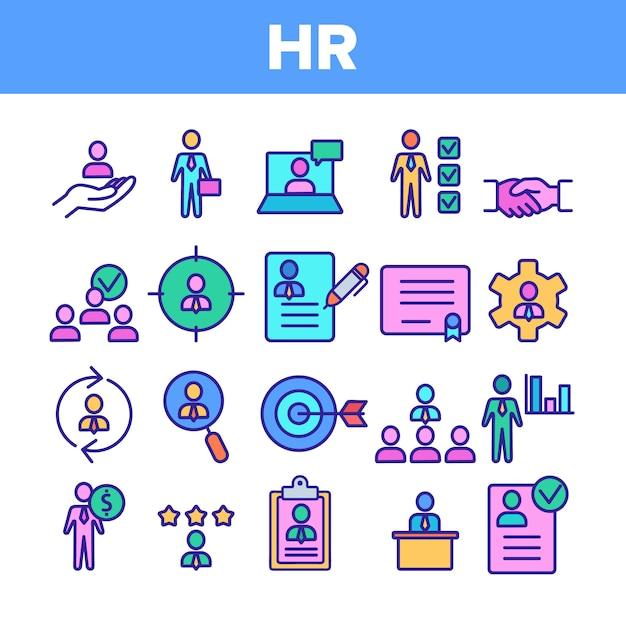Conjunto de ícones de recursos humanos de rh Vetor Premium