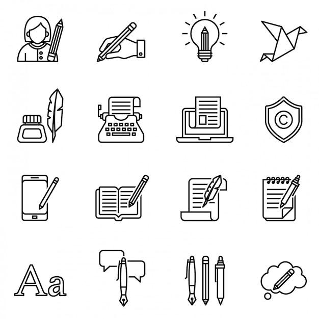 Conjunto de ícones de redação. estoque de estilo de linha fina. Vetor Premium