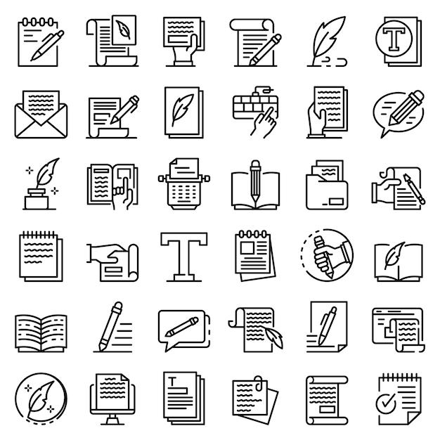 Conjunto de ícones de redator, estilo de estrutura de tópicos Vetor Premium