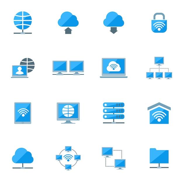 Conjunto de ícones de rede Vetor grátis